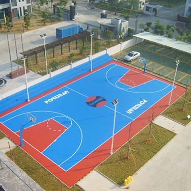 东莞塘厦蓝球场硅PU工程